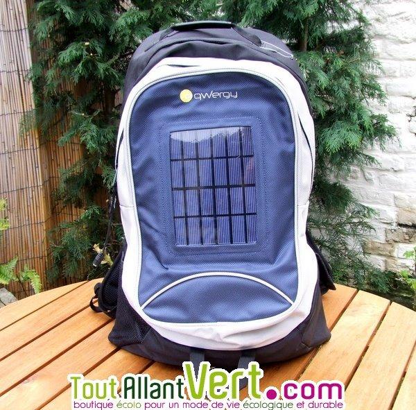 sac à dos solaire 30 litres bleu panneau 2.4w + batterie lithium