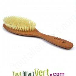 Brosse cheveux plate en bois, poils de soies naturelles