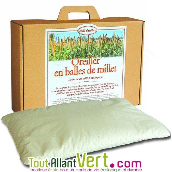 oreiller millet Mille oreillers   Oreiller en balles de millet naturel et coton bio oreiller millet