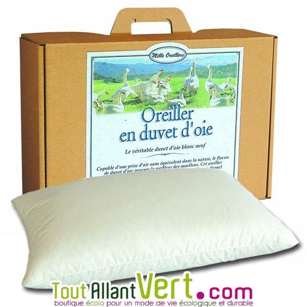 Mille oreillers oreillers en duvet d oie souple et coton biologique - Oreiller duvet d oie ...