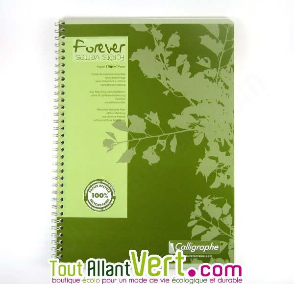 cahier spirale recycl lign a4 96p vert forever achat. Black Bedroom Furniture Sets. Home Design Ideas