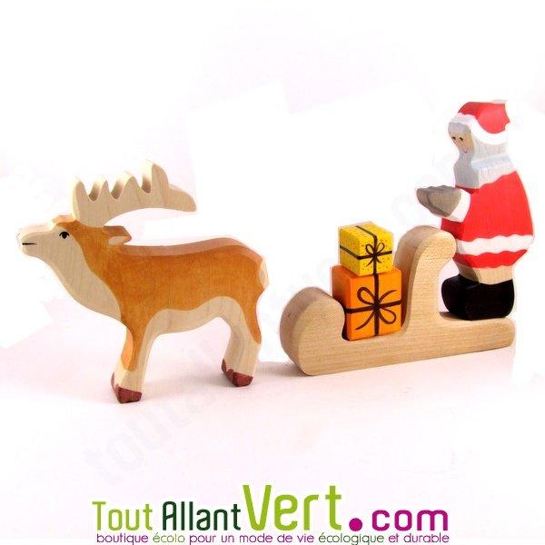 p re no l tra neau renne cadeaux en bois 15 cm achat vente cologique acheter sur. Black Bedroom Furniture Sets. Home Design Ideas