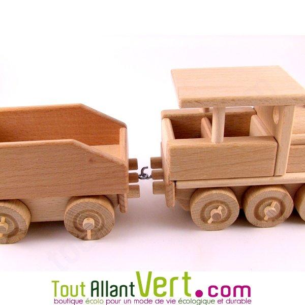 Train Locomotive + wagon, en bois naturel Equilibrist  ~ Train Bois Electrique