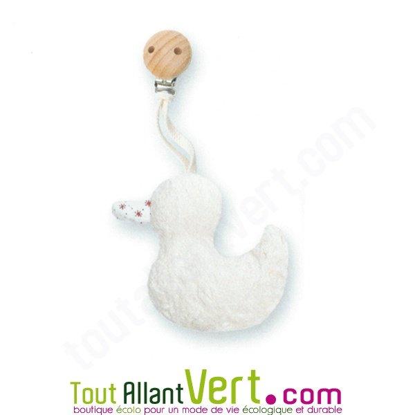 Hochet canard avec clip bois en laine vierge et coton bio for Acheter laine de bois