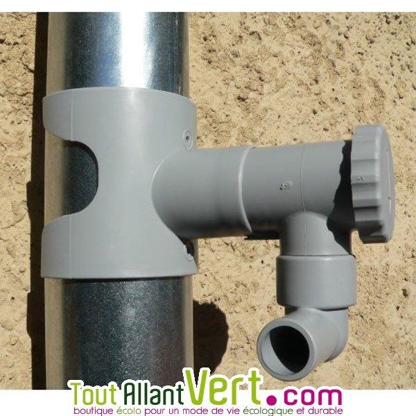 collecteur d eau de pluie sans coupe de gouttière ronde gris 80 à ... - Robinet Pour Recuperateur D Eau De Pluie