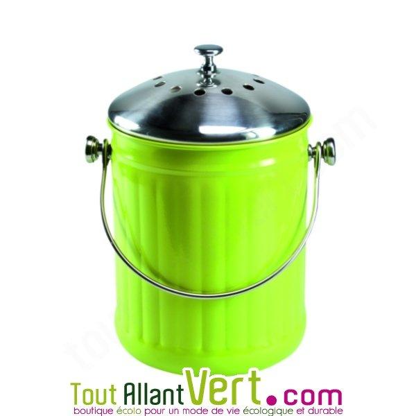 Poubelle compost vert anti odeur pour cuisine 4 litres - Petite poubelle de cuisine ...