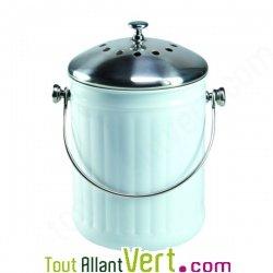 Poubelle compost blanc anti odeur pour cuisine 4 litres - Poubelle compost pour cuisine ...