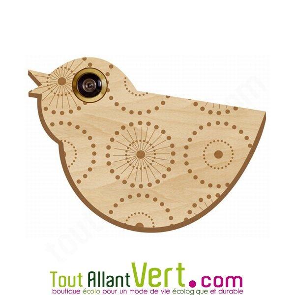 D cor oiseau en bois oiseau pour oeilleton de porte d for Oeil pour porte d entree