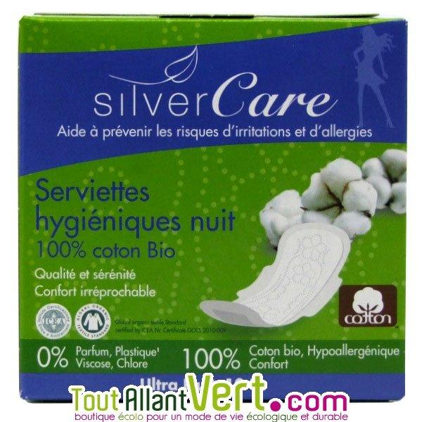 silvercare serviettes hygi niques nuit en coton bio. Black Bedroom Furniture Sets. Home Design Ideas