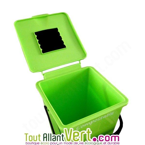 seau avec filtre anti odeurs pour compost et poubelle de table jardieco. Black Bedroom Furniture Sets. Home Design Ideas