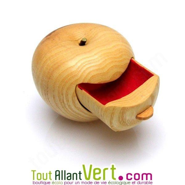 boite bijoux forme pomme en bois de cerisier fabrication artisanale. Black Bedroom Furniture Sets. Home Design Ideas