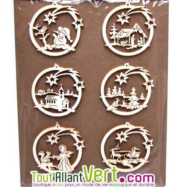 Décoration de Noël en bois à suspendre au sapin de Noël lot de 6 ronds