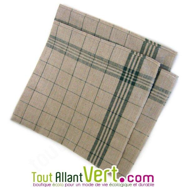 torchon en lin 60 x 60 carreaux vert achat vente cologique acheter sur. Black Bedroom Furniture Sets. Home Design Ideas