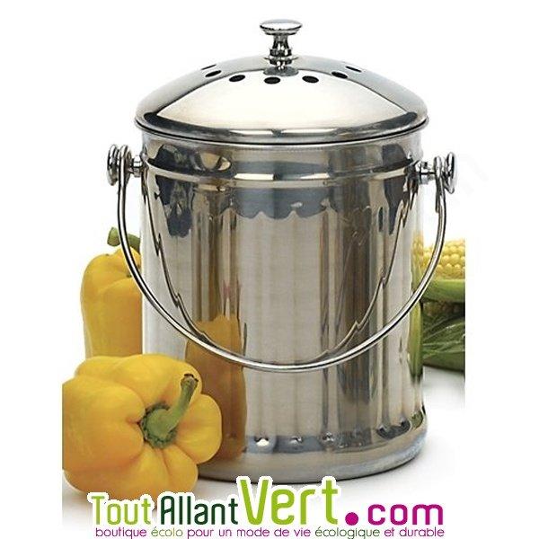 Poubelle de cuisine seau tout inox compost 3 litres - Seau a compost pour cuisine ...