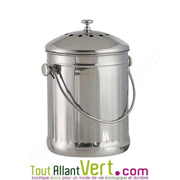 Poubelle de cuisine seau tout inox compost 3 litres achat vente cologique acheter sur for Poubelle cuisine inox roulettes