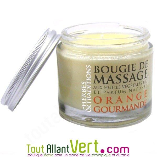 bougie de massage orange gourmande aux huiles essentielles herbes et traditions achat vente. Black Bedroom Furniture Sets. Home Design Ideas