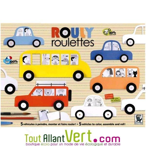 voitures en carton recycl colorier et qui roulent rouly roulettes 4ans achat vente. Black Bedroom Furniture Sets. Home Design Ideas
