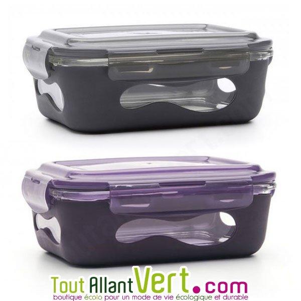 lunchbox et plat en verre avec sa protection silicone 850ml achat vente cologique acheter. Black Bedroom Furniture Sets. Home Design Ideas
