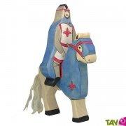 Chevalier bleu en bois avec cape et �p�e 16 cm