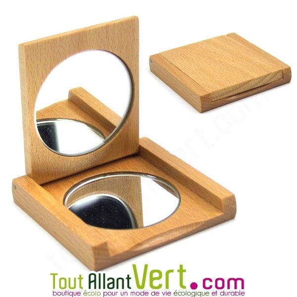 Miroir de poche en bois miroir et verre grossissant achat for Miroir de poche