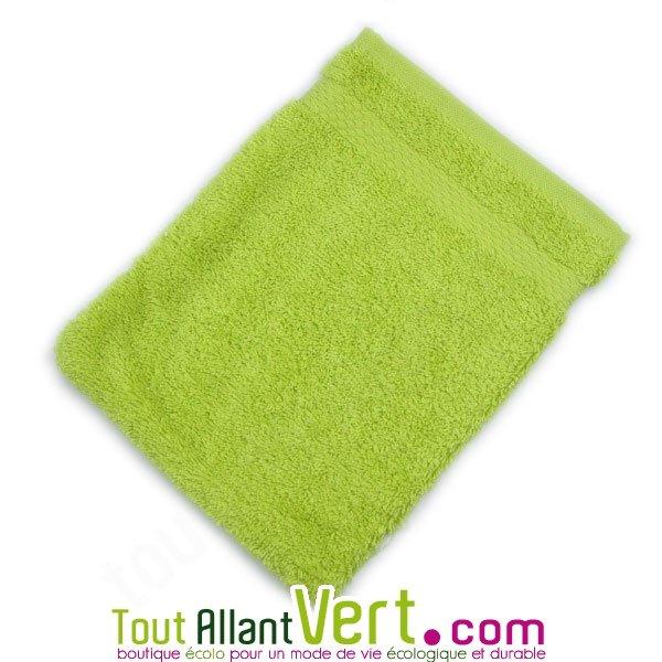 gant de toilette vert en ponge de coton biologique 21x16cm achat vente cologique acheter sur. Black Bedroom Furniture Sets. Home Design Ideas