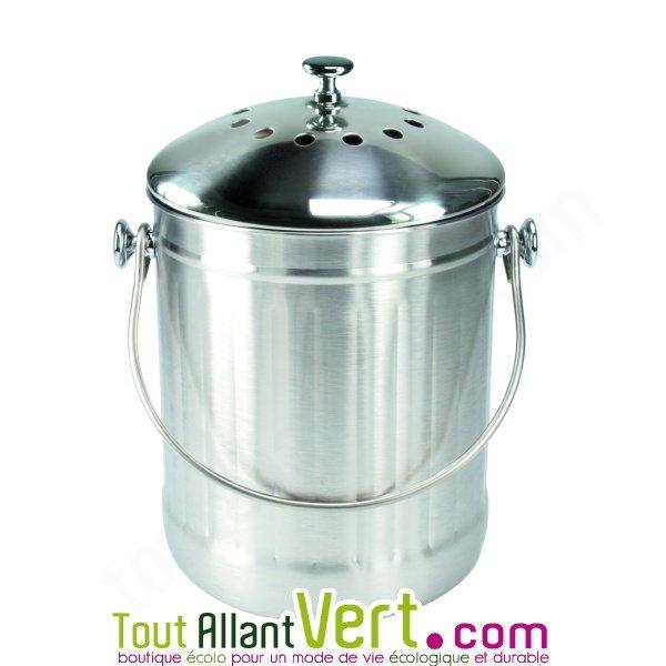 Poubelle compost inox anti odeur pour cuisine 4 litres for Poubelle compost pour cuisine