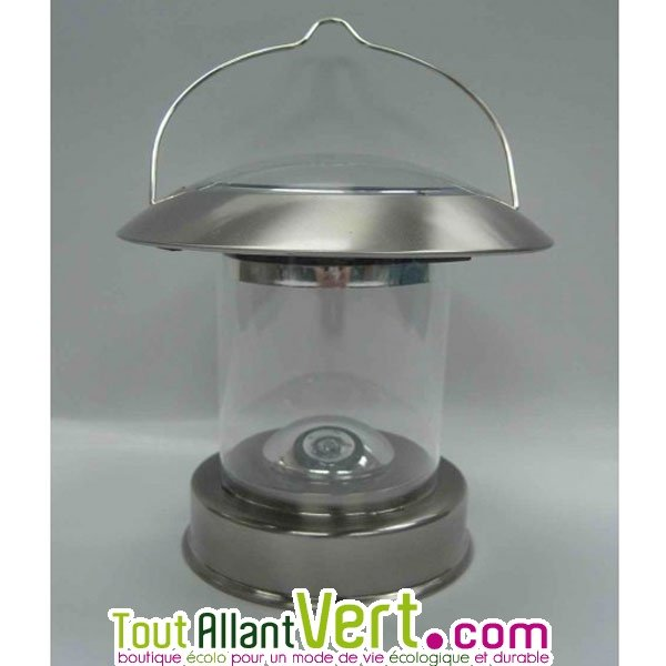 lanterne inox clairage solaire pour table ou terrasse. Black Bedroom Furniture Sets. Home Design Ideas