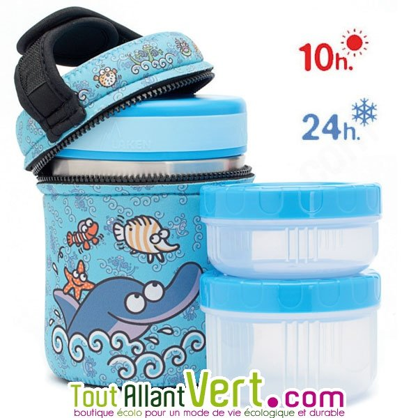 lunch box isotherme adulte en inox 2 compartiments housse 1 litre. Black Bedroom Furniture Sets. Home Design Ideas