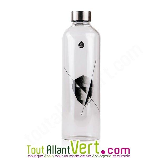 bouteille en verre 1 litre bouchon inox motif noir achat vente cologique acheter sur. Black Bedroom Furniture Sets. Home Design Ideas
