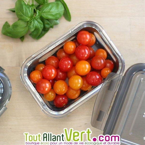 Petit plat de conservation ou emporte repas en verre avec protection silicone 370ml achat vente - Conservation plat cuisine ...