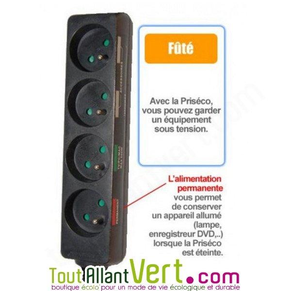 Multiprise intelligente 4 prises 1 permanente et 3 coupe veille avec interrupteur d port - Multiprise coupe veille ...