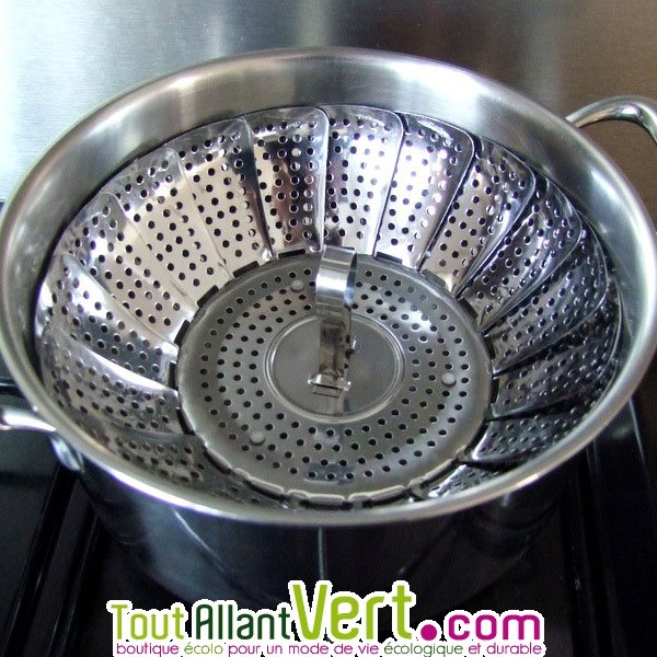 Marguerite inox pour cuire la vapeur sur tous les plats - Cuit vapeur inox pour gaz ...