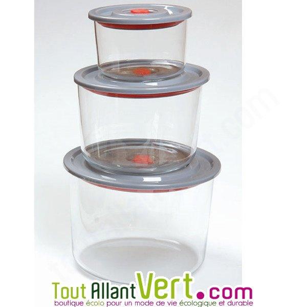 Set de 3 bocaux herm tiques r utilisables en verre for Achat bocaux en verre