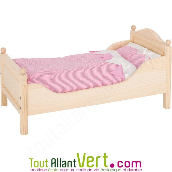 lit de poup e en bois de pin naturel achat vente cologique acheter sur. Black Bedroom Furniture Sets. Home Design Ideas