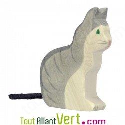 Petit chat gris en bois assis 8 cm achat vente cologique for Achat maison belgique frais