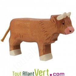 Vache marron highland en bois debout 10cm achat vente for Achat maison belgique frais