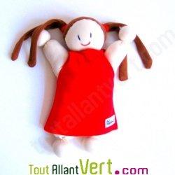 Poup�e chiffon en coton bio, blanc et rouge, 25 cm