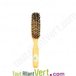 Brosse cheveux fine plate en bois, poils naturel de sanglier