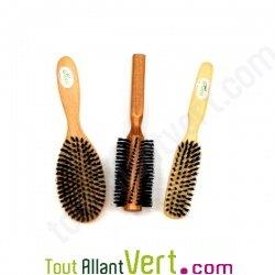 Brosse cheveux en bois, poils naturel de sanglier