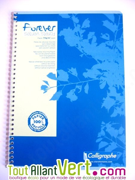 cahier spirale recycl lign a4 96p bleu forever achat. Black Bedroom Furniture Sets. Home Design Ideas