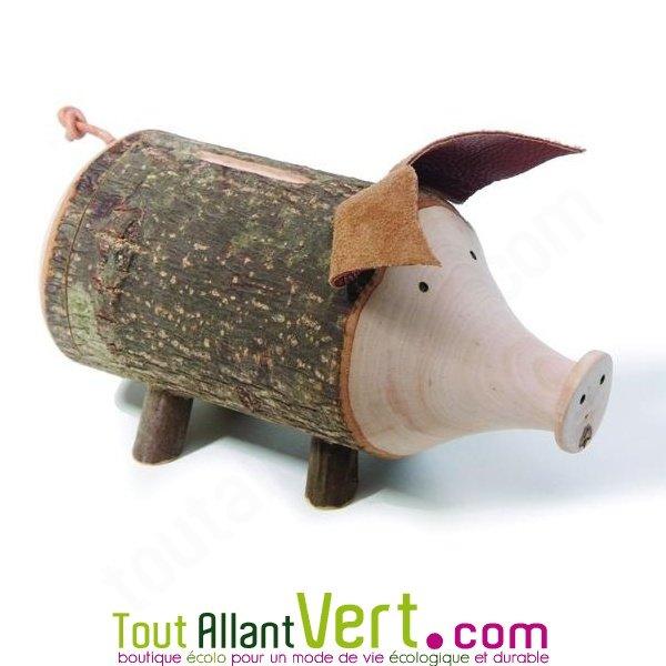tirelire cochon en bois et corce de bois achat vente cologique acheter sur. Black Bedroom Furniture Sets. Home Design Ideas